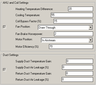 psychrometric settings