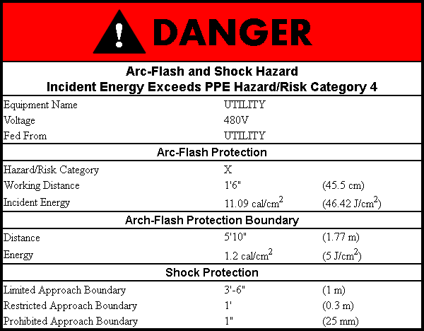 Arc-Flash Danger Label